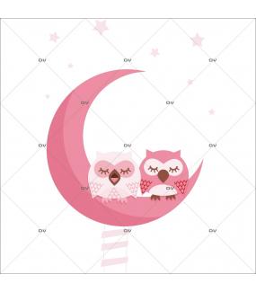 Sticker-hiboux-sur-croissant-de-lune-échelle-oiseaux-roses-chambre-bébé-enfant-adhésif-encres-écologiques-latex-décoration-intérieure-DECO-VITRES