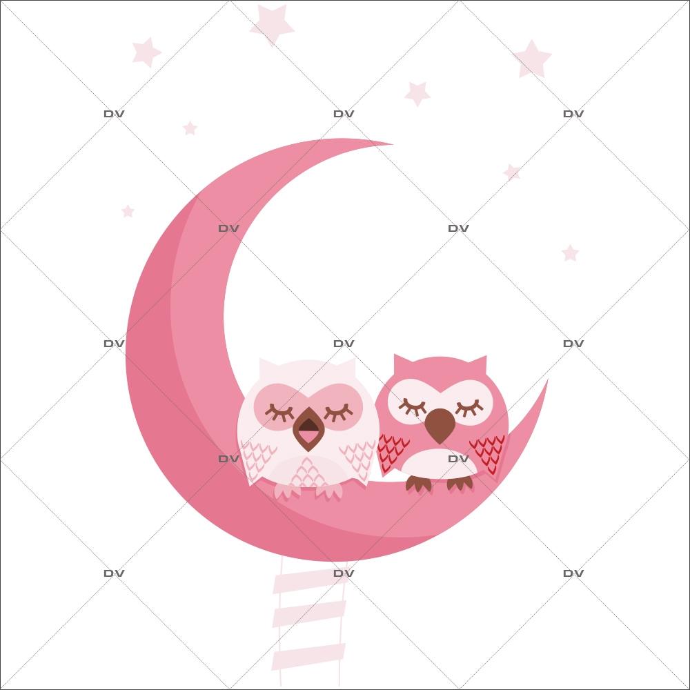 Stickers Pour Fenetre Chambre ds87 - sticker hiboux roses - deco-vitres - sticker mural