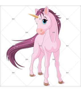 Sticker-licorne-rose-chambre-bébé-enfant-fille-adhésif-encres-écologiques-latex-décoration-intérieure-DECO-VITRES