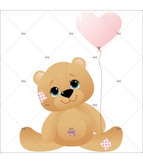Sticker-ourson-ballon-coeur-rose-chambre-enfant-bébé-fille-mural-adhésif-encres-écologiques-latex-décoration-intérieure-DECO-VITRES