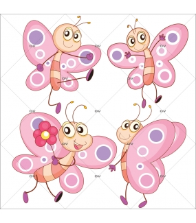 Stickers-4-papillons-roses-chambre-bébé-enfant-fille-mural-adhésif-encres-écologiques-latex-décoration-intérieure-DECO-VITRES