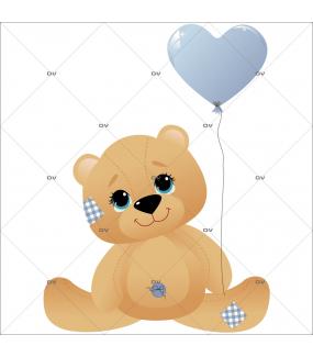 Sticker-ourson-ballon-coeur-bleu-chambre-enfant-bébé-garçon-mural-adhésif-encres-écologiques-latex-décoration-intérieure-DECO-VITRES