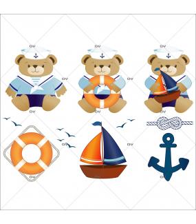 Stickers-kit-oursons-marins-bouée-ancre-mouettes-bateau-chambre-bébé-enfant-garçon-adhésif-encres-écologiques-latex-décoration-intérieure-DECO-VITRES