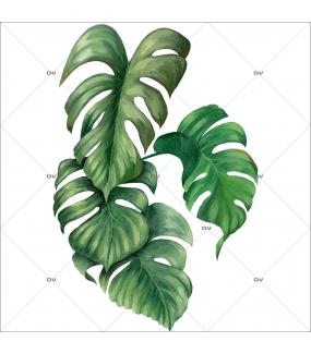 Sticker-philodendron-plante-exotique-tropical-adhésif-encres-écologiques-latex-décoration-intérieure-DECO-VITRES