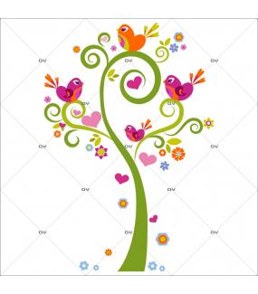 Sticker-arbre-coeurs-et-oiseaux-bleus-chambre-bébé-enfant-adhésif-encres-écologiques-latex-décoration-intérieure-DECO-VITRES