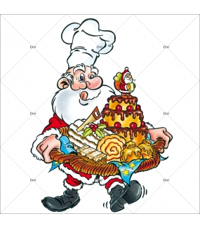 Sticker-père-noël-pâtissier-gâteaux-vitrophanie-décoration-vitrine-noël-boulangerie-pâtisserie-électrostatique-sans-colle-repositionnable-réutilisable-DECO-VITRES