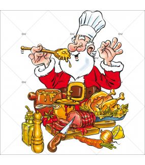 Sticker-père-noël-traiteur-chapon-fête-vitrophanie-décoration-vitrine-noël-traiteur-snack-restaurant-électrostatique-sans-colle-repositionnable-réutilisable-DECO-VITRES