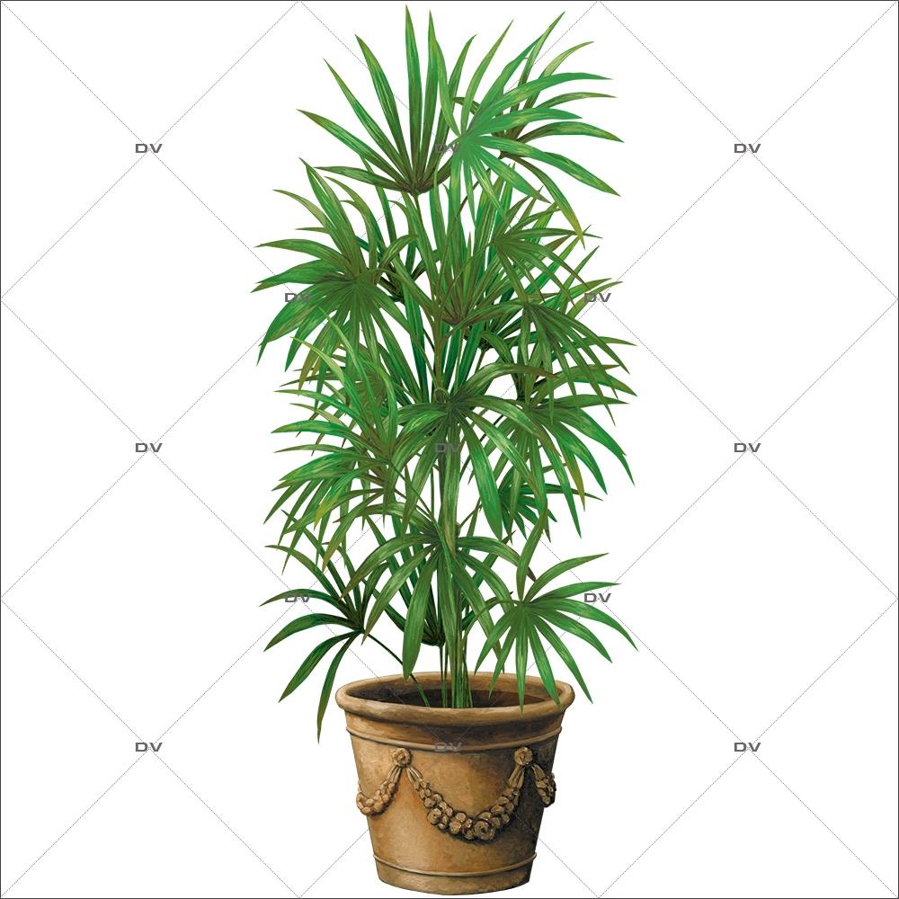 Plante Haute En Pot ds126 - sticker pot kentia - deco-vitres - sticker mural