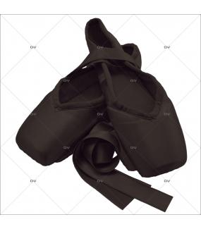 Sticker-chaussons-noirs-cygne-pointes-satin-danse-ballerine-classique-chambre-bébé-enfant-fille-adhésif-encres-écologiques-latex-décoration-intérieure-DECO-VITRES