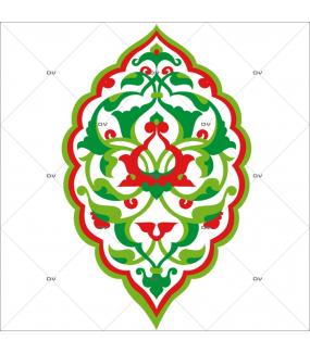 Sticker-motif-ambiance-décoration-orientale-vert-rouge-adhésif-encres-écologiques-latex-décoration-intérieure-DECO-VITRES
