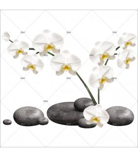 Sticker-orchidées-blanches-galets-asiatique-ambiance-zen-adhésif-encres-écologiques-latex-décoration-intérieure-DECO-VITRES