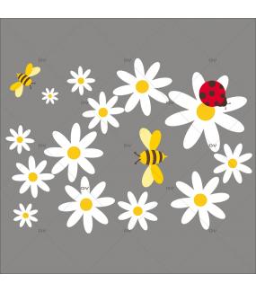 Sticker-pâquerettes-abeilles-coccinelle-fleurs-printemps-été-vitrophanie-décoration-vitrine-estivale-printanière-électrostatique-sans-colle-repositionnable-réutilisable-DECO-VITRES