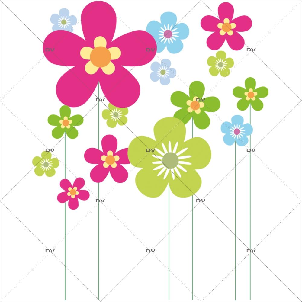Sticker-frises-de-fleurs-multicolores-printemps-été-vitrophanie-décoration-vitrine-estivale-printanière-électrostatique-sans-colle-repositionnable-réutilisable-DECO-VITRES