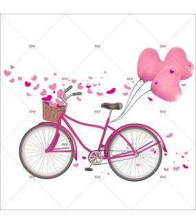 Sticker-bicyclette-ballons-coeurs-roses-printemps-été-vitrophanie-décoration-vitrine-printanière-estivale-saint-valentin-fêtes-mères-pères-électrostatique-sans-colle-repositionnable-réutilisable-DECO-VITRES
