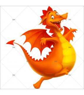 Sticker-dragon-gentil-chambre-enfant-garçon-médiéval-chevalier-adhésif-encres-écologiques-latex-décoration-intérieure-DECO-VITRES