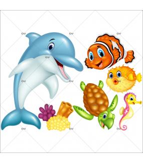 Stickers-lot-de-6-vie-sous-marine-dauphin-tortue-poisson-clown-hippocampe-mer-chambre-bébé-enfant-salle-de-bains-adhésif-encres-écologiques-latex-décoration-intérieure-DECO-VITRES