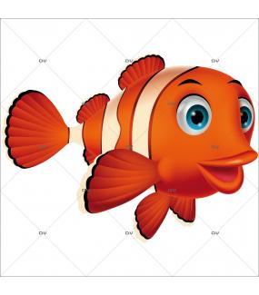 Sticker-poisson-clown-chambre-enfant-mer-poisson-sous-marin-adhésif-encres-écologiques-latex-décoration-intérieure-DECO-VITRES