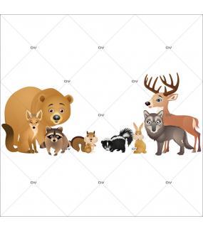 Sticker-animaux-de-la-forêt-écureuil-ours-renard-lapin-loup-cerf-mouflette-raton-laveur-chambre-enfant-bébé-mural-adhésif-encres-écologiques-latex-décoration-intérieure-DECO-VITRES