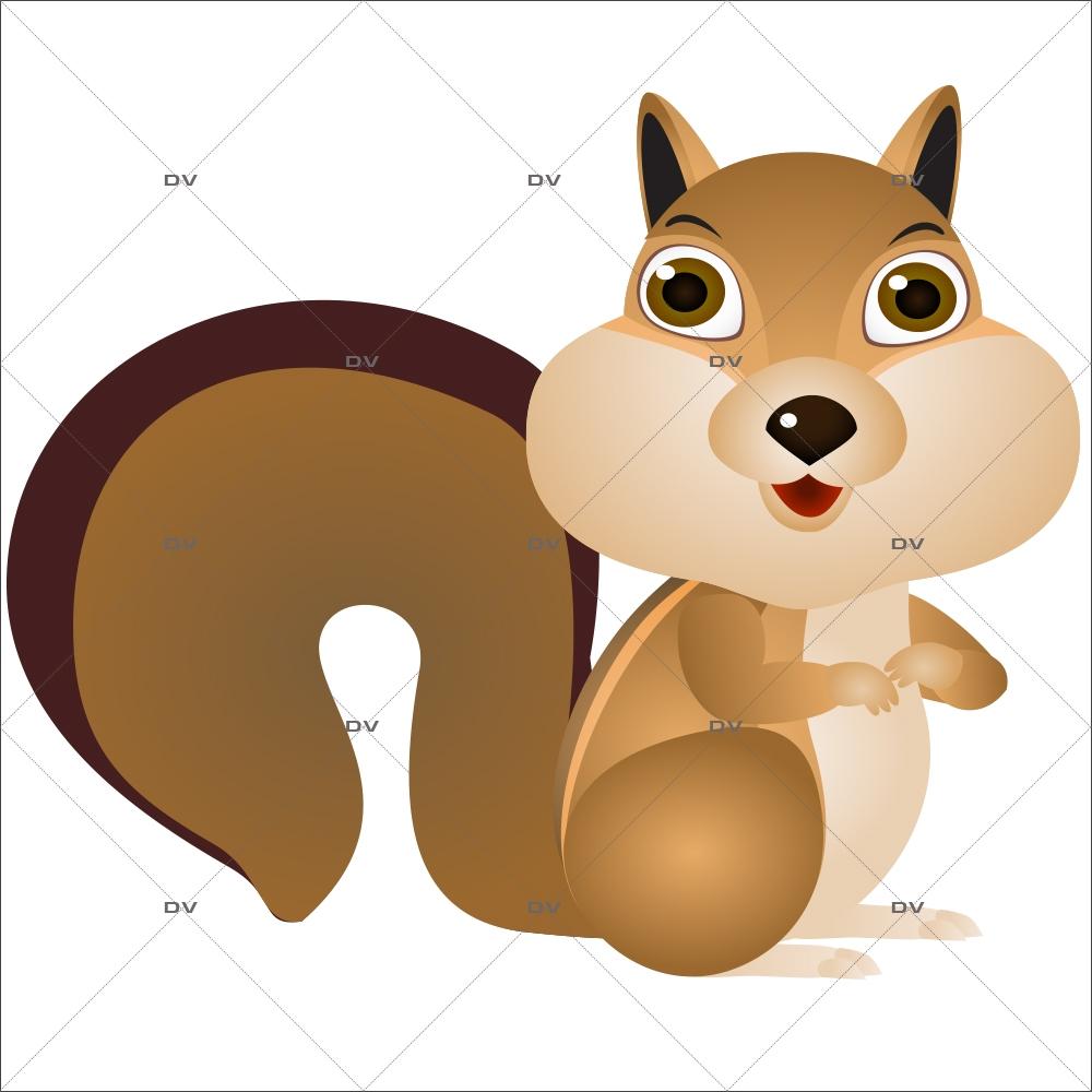 Sticker-animaux-de-la-forêt-écureuil-chambre-enfant-bébé-mural-adhésif-encres-écologiques-latex-décoration-intérieure-DECO-VITRES