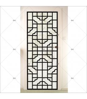Sticker-porte-panneautage-asiatique-fond-bambous-ambiance-zen-adhésif-encres-écologiques-latex-décoration-intérieure-DECO-VITRES