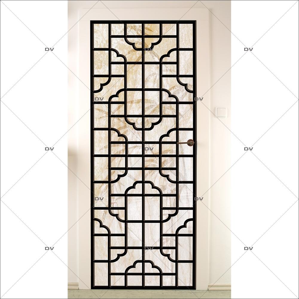 Sticker-porte-panneautage-asiatique-ambiance-zen-adhésif-encres-écologiques-latex-décoration-intérieure-DECO-VITRES