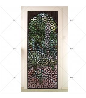 Sticker-porte-moucharabieh-ambiance-orientale-fond-cactus-adhésif-encres-écologiques-latex-décoration-intérieure-DECO-VITRES