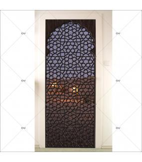 Sticker-porte-moucharabieh-ambiance-orientale-fond-désert-de-nuit-adhésif-encres-écologiques-latex-décoration-intérieure-DECO-VITRES