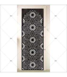 Sticker-porte-moucharabieh-ambiance-orientale-fond-blanc-adhésif-encres-écologiques-latex-décoration-intérieure-DECO-VITRES