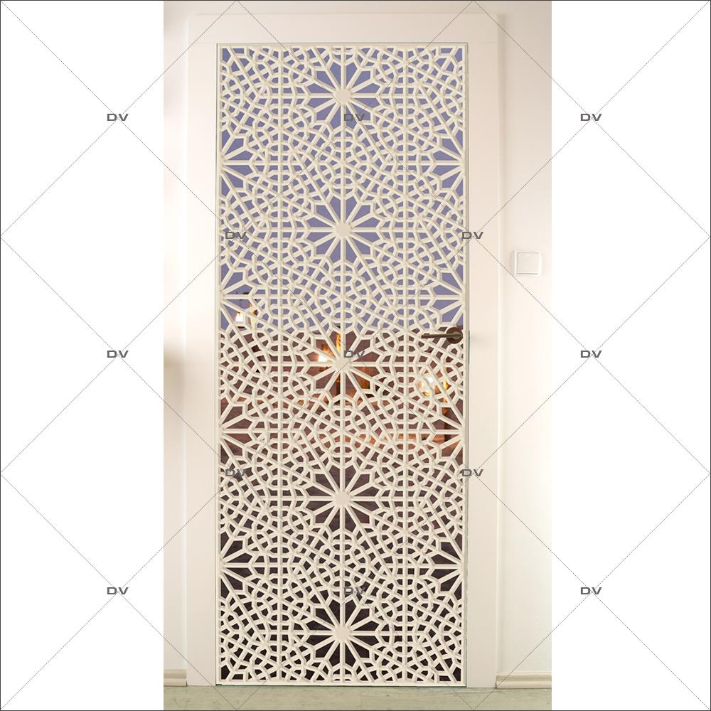 Ds237 Sticker Porte Orientale Moucharabieh Fond Désert Deco Vitres