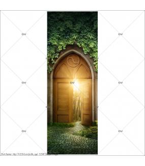 Sticker-porte-mystère-forêt-enchantée-chambre-enfant-adhésif-encres-écologiques-latex-décoration-intérieure-DECO-VITRES