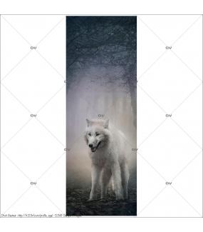 Sticker-porte-loup-forêt-enchantée-chambre-enfant-adolescent-adhésif-encres-écologiques-latex-décoration-intérieure-DECO-VITRES
