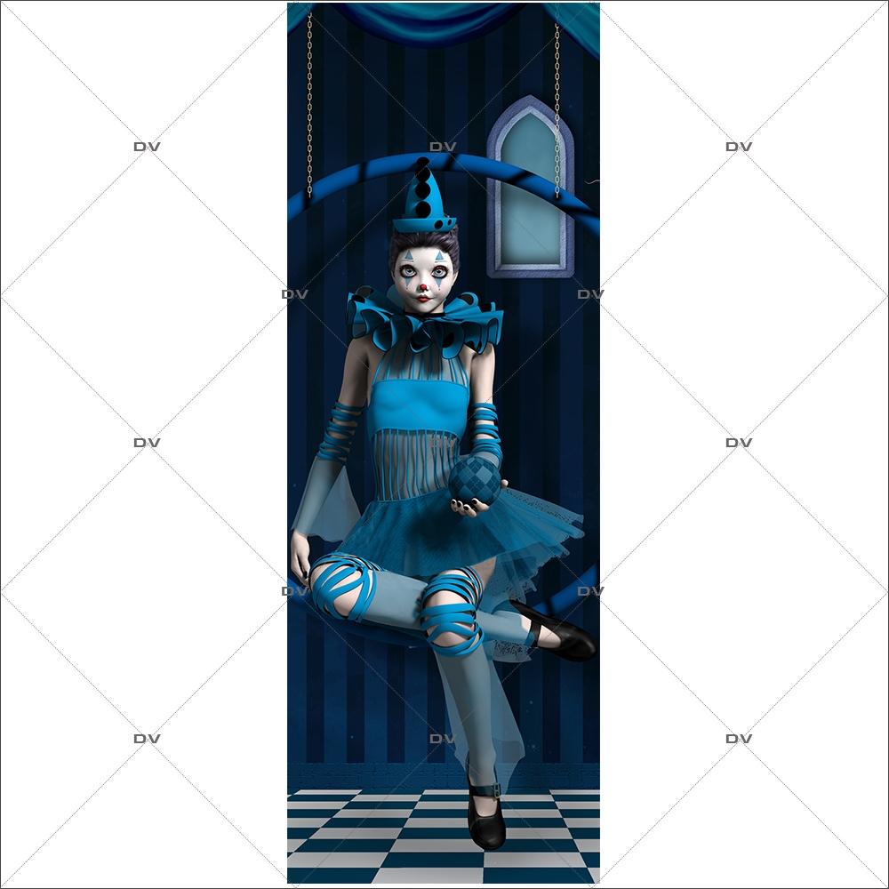 DS424 - Sticker porte ballerine bleue - DECO-VITRES