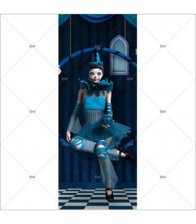Sticker-porte-ballerine-bleue-balançoire-chambre-enfant-fille-adhésif-encres-écologiques-latex-décoration-intérieure-DECO-VITRES