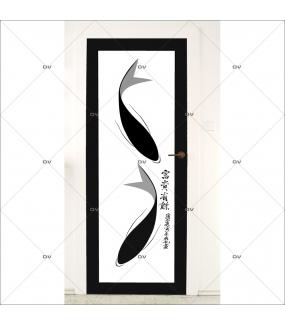 Sticker-porte-carpes-koi-asiatique-ambiance-zen-adhésif-encres-écologiques-latex-décoration-intérieure-DECO-VITRES