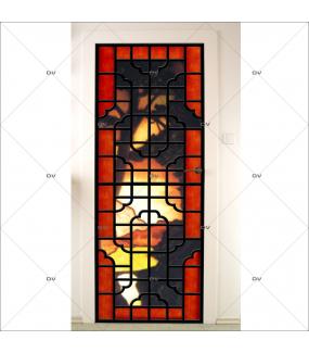 Sticker-porte-panneautage-asiatique-fond-paysage-arbre-adhésif-encres-écologiques-latex-décoration-intérieure-DECO-VITRES