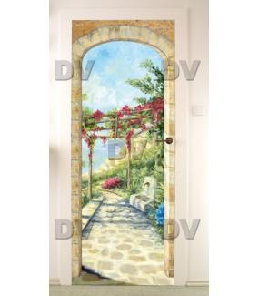 Sticker-porte-paysage-tonnelle-bougainvillées-fontaine-arche-trompe-l-oeil-bord-de-mer-adhésif-encres-écologiques-latex-décoration-intérieure-DECO-VITRES