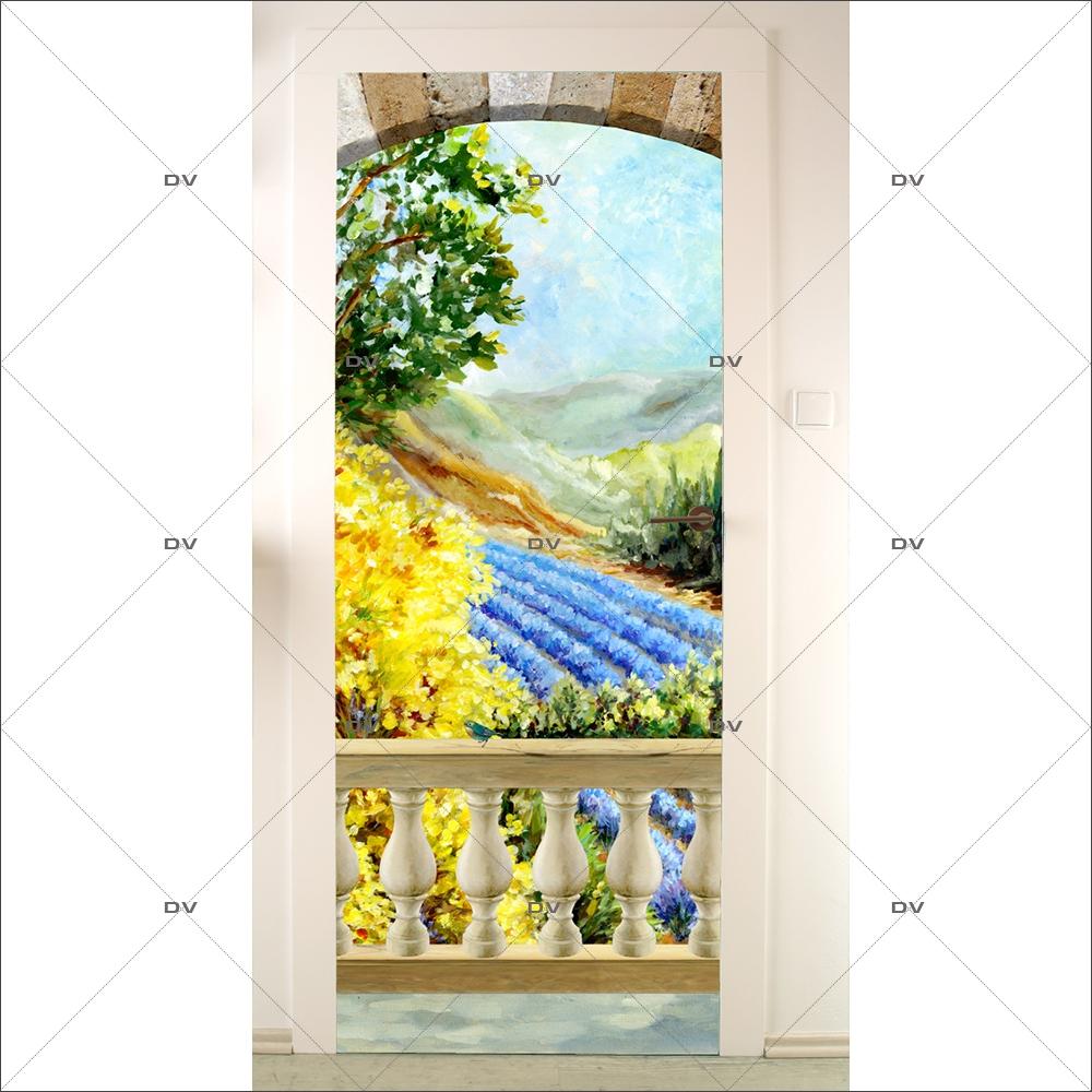 Sticker-porte-paysage-provençal-genêts-lavandes-balustres-trompe-l-oeil-Provence-adhésif-encres-écologiques-latex-décoration-intérieure-DECO-VITRES