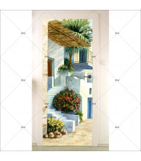 Sticker-porte-maison-de-plage-trompe-l-oeil-bord-de-mer-adhésif-encres-écologiques-latex-décoration-intérieure-DECO-VITRES