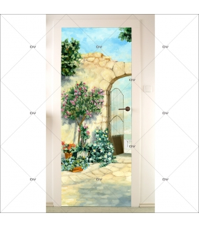 Sticker-porte-jardin-mur-de-pierres-portail-fer-forgé-trompe-l-oeil-retro-adhésif-encres-écologiques-latex-décoration-intérieure-DECO-VITRES