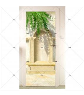 Sticker-porte-niche-patio-palmier-trompe-l-oeil-retro-adhésif-encres-écologiques-latex-décoration-intérieure-DECO-VITRES