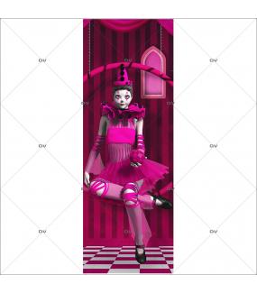 Sticker-porte-ballerine-rose-balançoire-chambre-enfant-fille-adhésif-encres-écologiques-latex-décoration-intérieure-DECO-VITRES