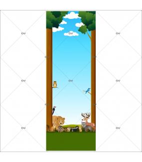 Sticker-porte-animaux-de-la-forêt-hibou-ours-loup-cerf-écureuil-mouflette-renard-lapin-chambre-bébé-enfant-adhésif-encres-écologiques-latex-décoration-intérieure-DECO-VITRES