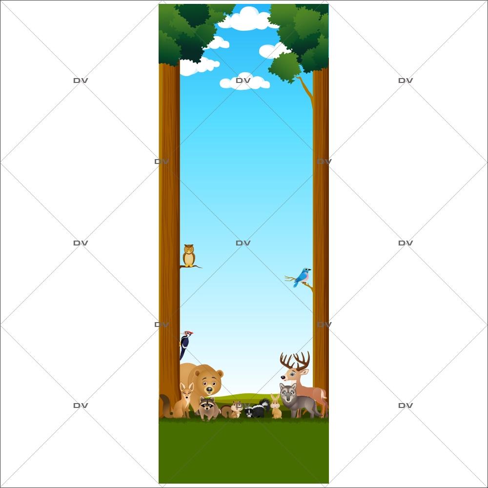 DS19 - Sticker porte animaux de la forêt - DECO-VITRES