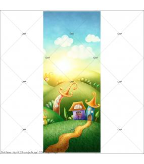 Sticker-porte-collines-pays-enchanté-maisonnettes-chambre-bébé-enfant-adhésif-encres-écologiques-latex-décoration-intérieure-DECO-VITRES