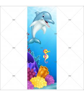 Sticker-porte-vie-sous-marine-tortue-poisson-clown-algues-coraux-mer-chambre-bébé-enfant-salle-de-bains-adhésif-encres-écologiques-latex-décoration-intérieure-DECO-VITRES