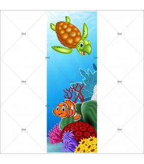 Sticker-porte-vie-sous-marine-dauphin-hippocampe-algues-coraux-mer-chambre-bébé-enfant-salle-de-bains-adhésif-encres-écologiques-latex-décoration-intérieure-DECO-VITRES