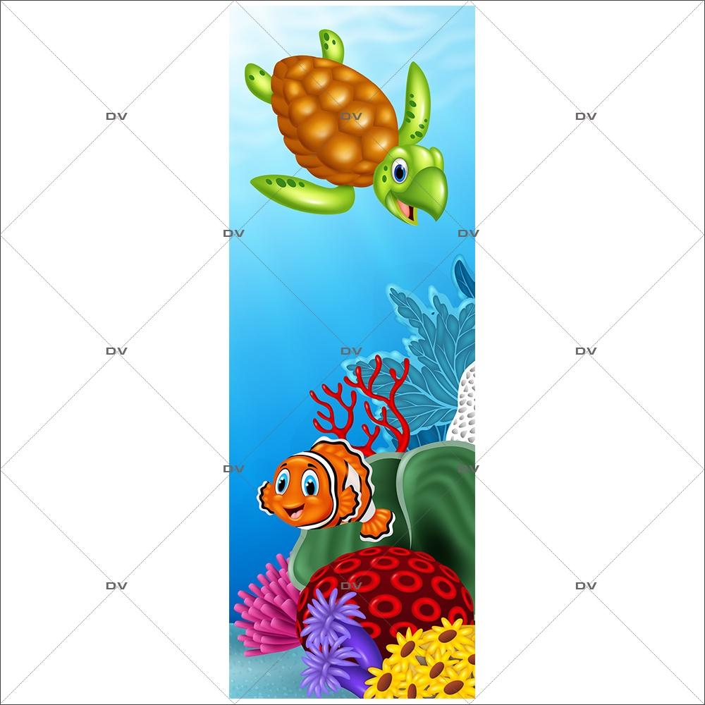 Sticker Porte Vie Sous Marine Dauphin Hippocampe Algues