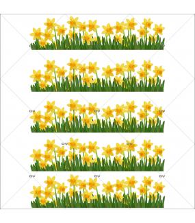 Sticker-frises-jonquilles-fleurs-jaunes-printemps-vitrophanie-décoration-vitrine-printanière-fêtes-grands-mères-électrostatique-sans-colle-repositionnable-réutilisable-DECO-VITRES