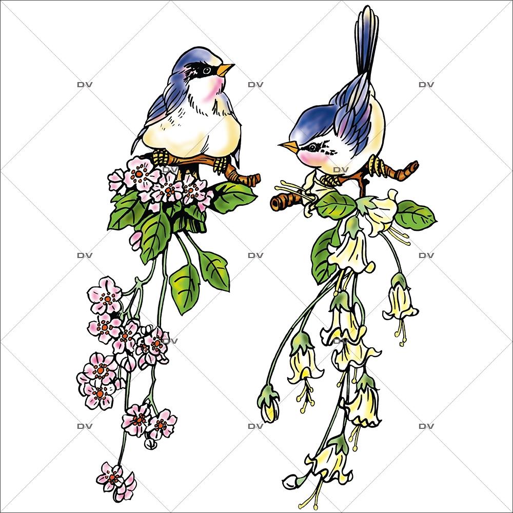 Sticker-oiseaux-fleurs-mésanges-printemps-été-vitrophanie-décoration-vitrine-estivale-printanière-électrostatique-sans-colle-repositionnable-réutilisable-DECO-VITRES
