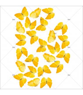 Sticker-papillons-jaunes-insectes-printemps-animaux-été-vitrophanie-décoration-vitrine-printanière-estivale-électrostatique-sans-colle-repositionnable-réutilisable-DECO-VITRES